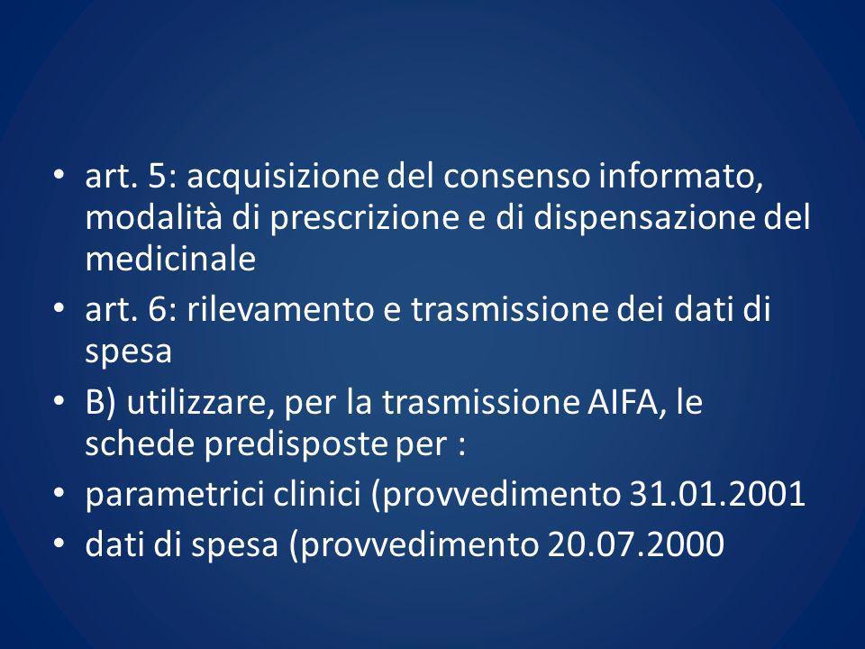 art. 5: acquisizione del consenso informato, modalità di prescrizione e di dispensazione del medicinale art. 6: rilevamento e trasmissione dei dati di