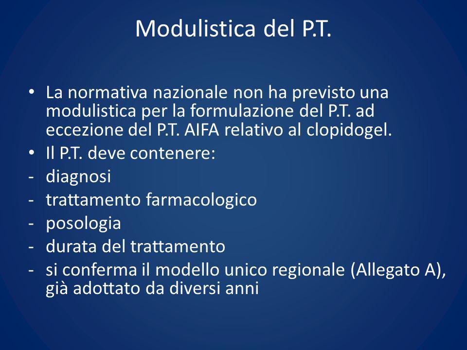 Modulistica del P.T. La normativa nazionale non ha previsto una modulistica per la formulazione del P.T. ad eccezione del P.T. AIFA relativo al clopid