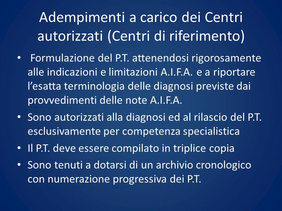 Adempimenti a carico dei Centri autorizzati (Centri di riferimento) Formulazione del P.T. attenendosi rigorosamente alle indicazioni e limitazioni A.I