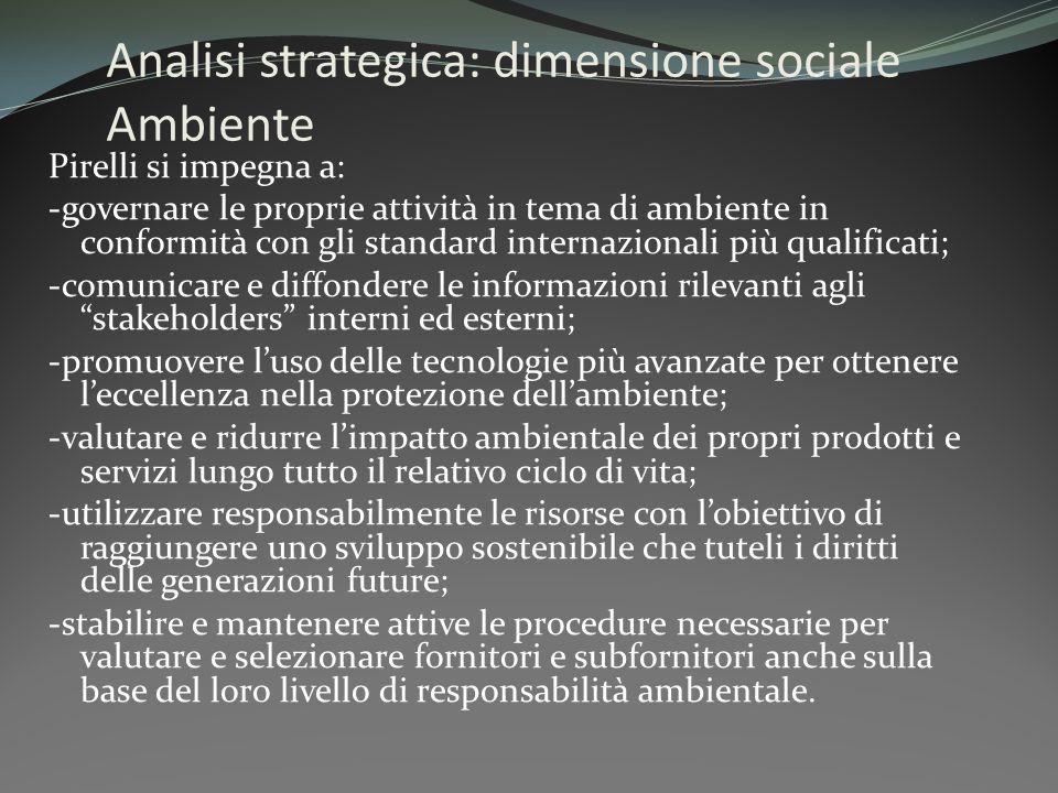 Analisi strategica: dimensione sociale Ambiente Pirelli si impegna a: -governare le proprie attività in tema di ambiente in conformità con gli standar