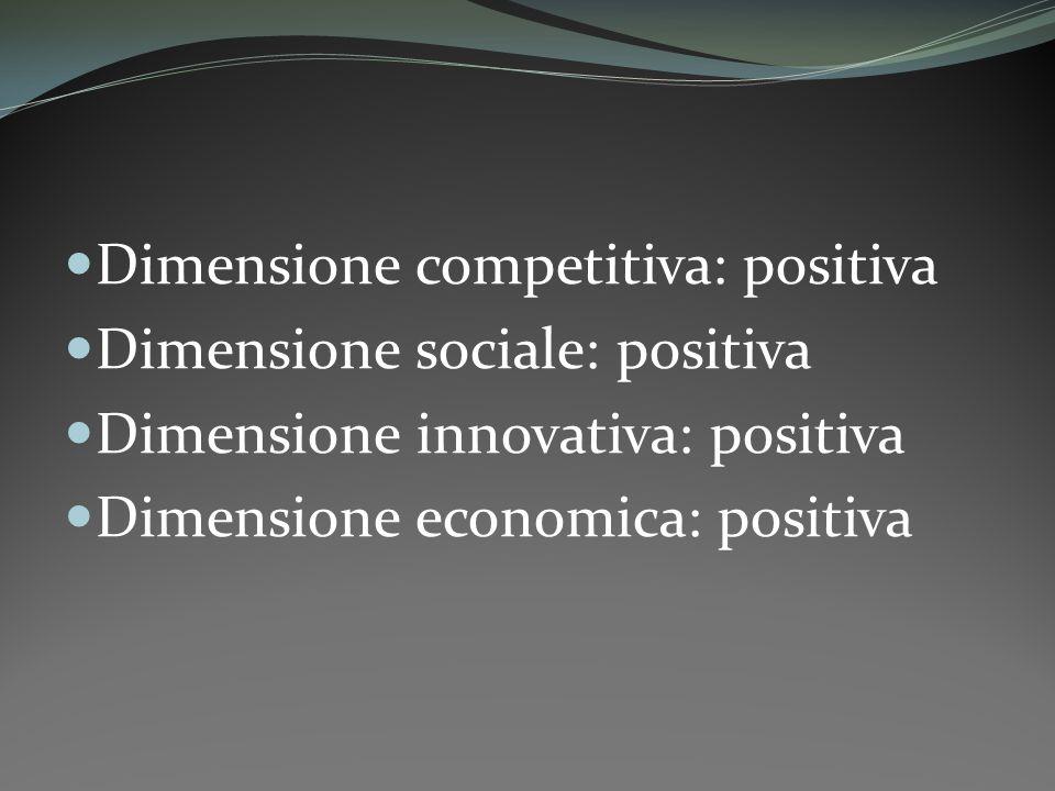 Dimensione competitiva: positiva Dimensione sociale: positiva Dimensione innovativa: positiva Dimensione economica: positiva