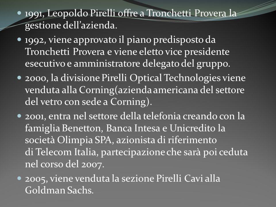 1991, Leopoldo Pirelli offre a Tronchetti Provera la gestione dellazienda. 1992, viene approvato il piano predisposto da Tronchetti Provera e viene el