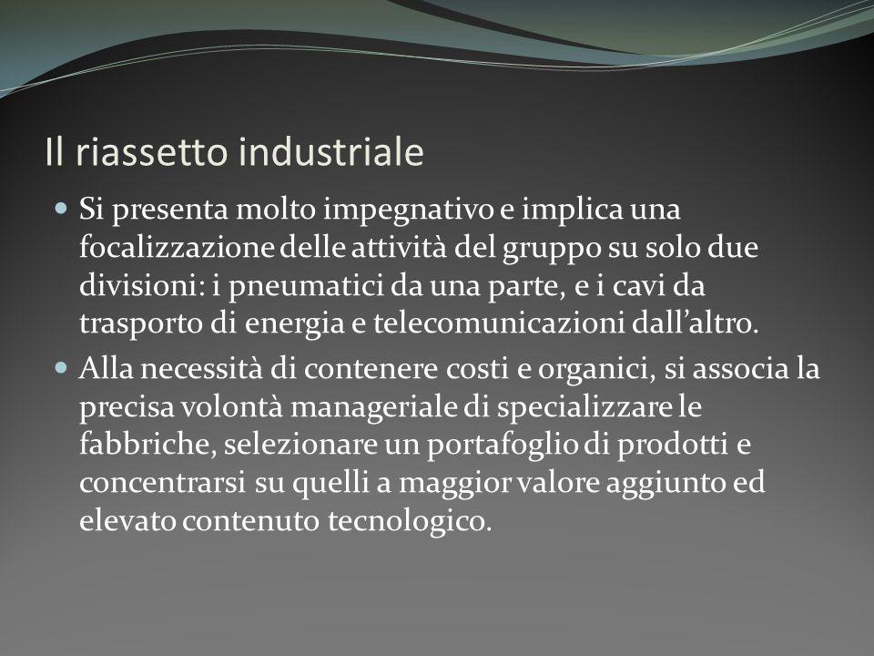 Il riassetto industriale Si presenta molto impegnativo e implica una focalizzazione delle attività del gruppo su solo due divisioni: i pneumatici da u