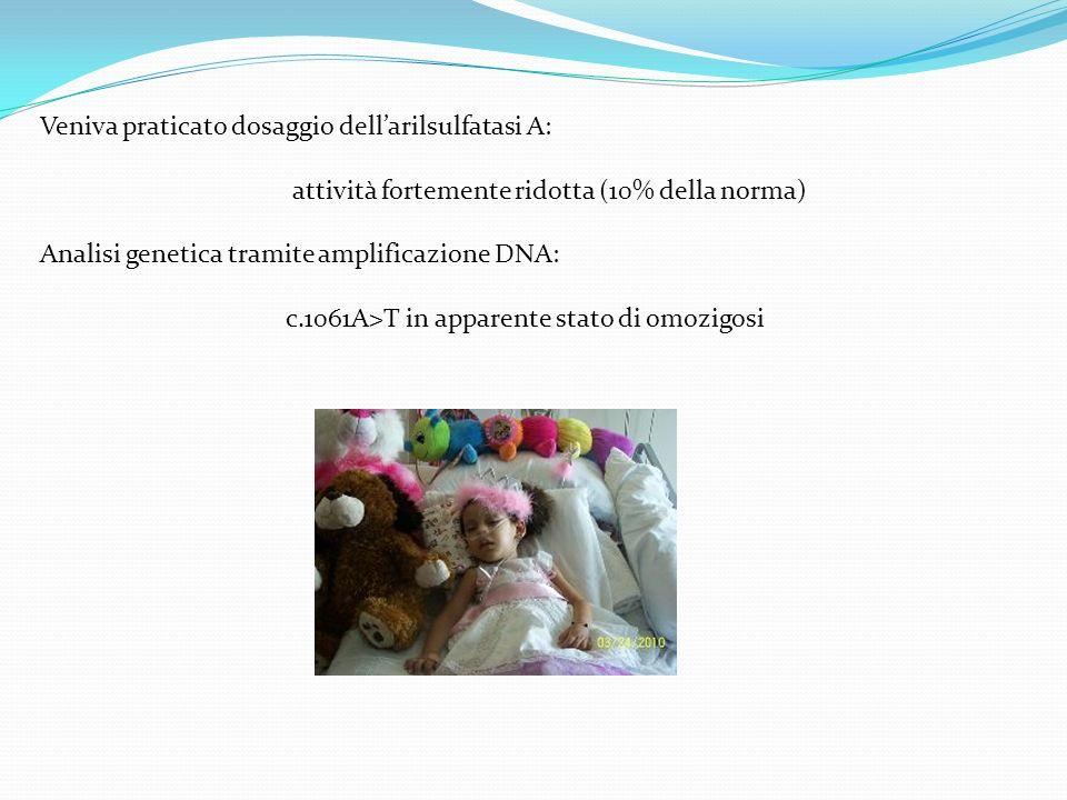 Veniva praticato dosaggio dellarilsulfatasi A: attività fortemente ridotta (10% della norma) Analisi genetica tramite amplificazione DNA: c.1061A>T in
