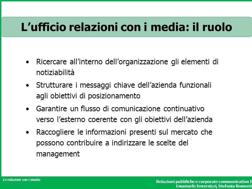 Relazioni pubbliche e corporate communication 1 Emanuele Invernizzi, Stefania Romenti Le relazioni con i media Ricercare allinterno dellorganizzazione