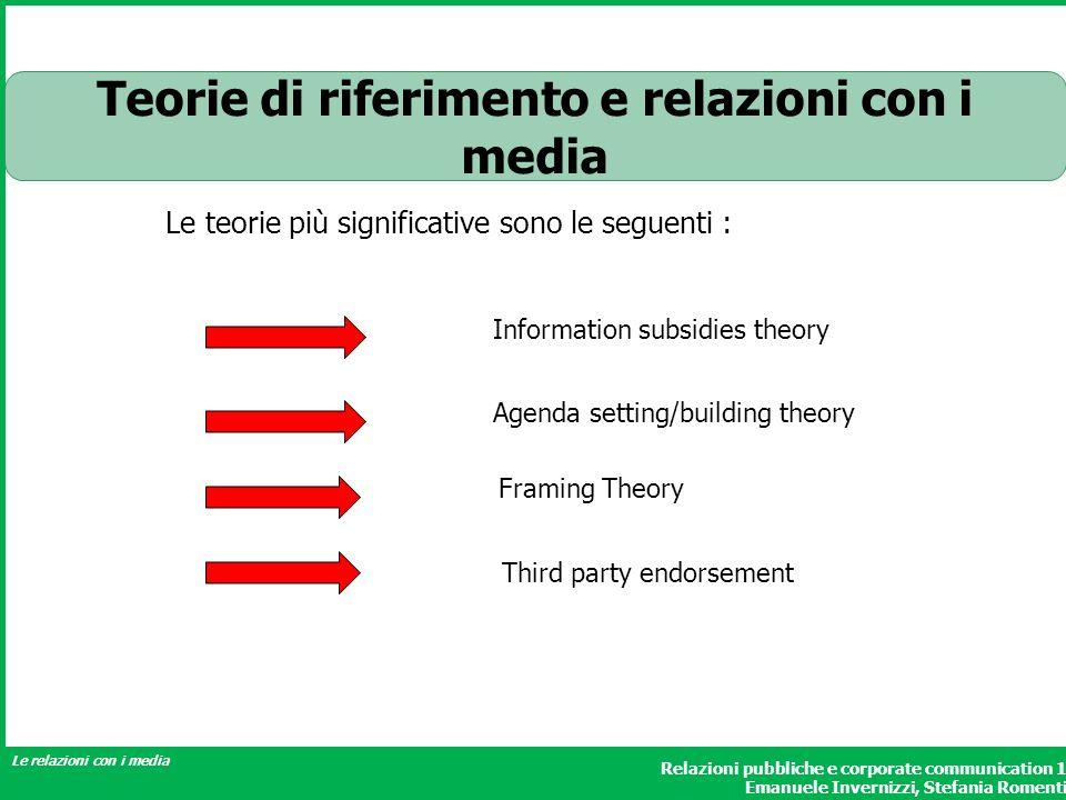 Relazioni pubbliche e corporate communication 1 Emanuele Invernizzi, Stefania Romenti Le relazioni con i media Teorie di riferimento e relazioni con i
