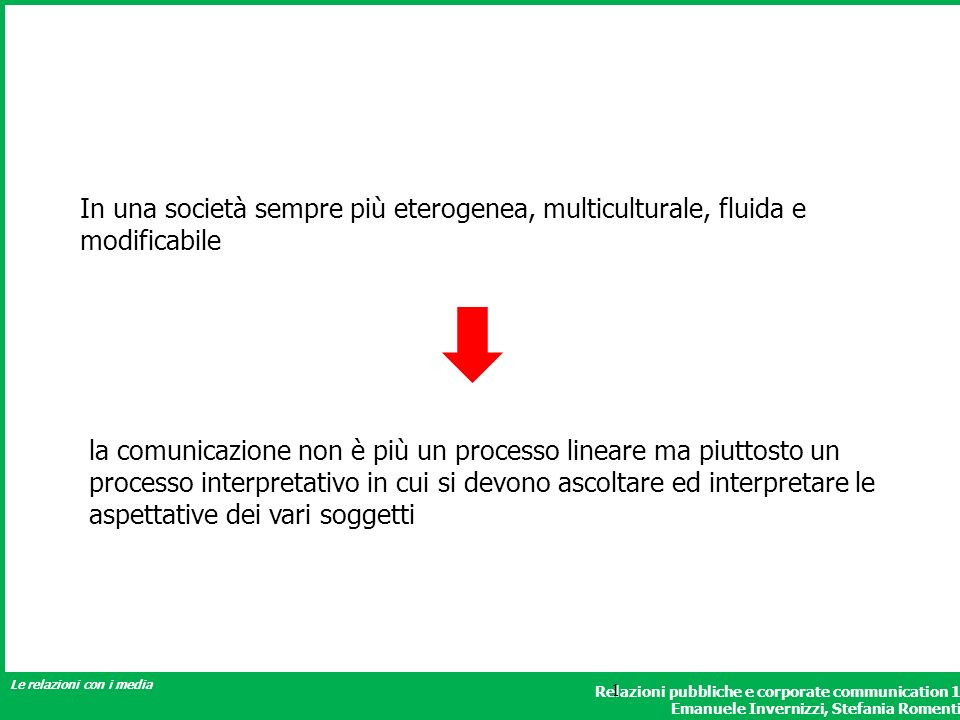 Relazioni pubbliche e corporate communication 1 Emanuele Invernizzi, Stefania Romenti Le relazioni con i media 1 In una società sempre più eterogenea,