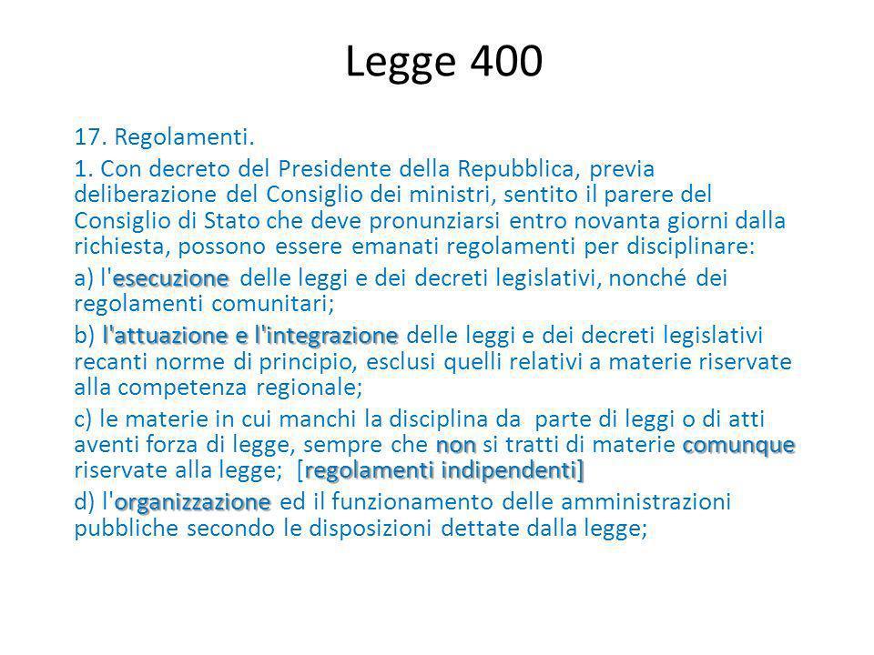 Legge 400 17. Regolamenti. 1. Con decreto del Presidente della Repubblica, previa deliberazione del Consiglio dei ministri, sentito il parere del Cons