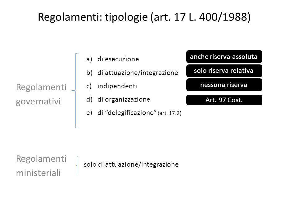 Regolamenti: tipologie (art. 17 L. 400/1988) Regolamenti governativi Regolamenti ministeriali a)di esecuzione b)di attuazione/integrazione c)indipende