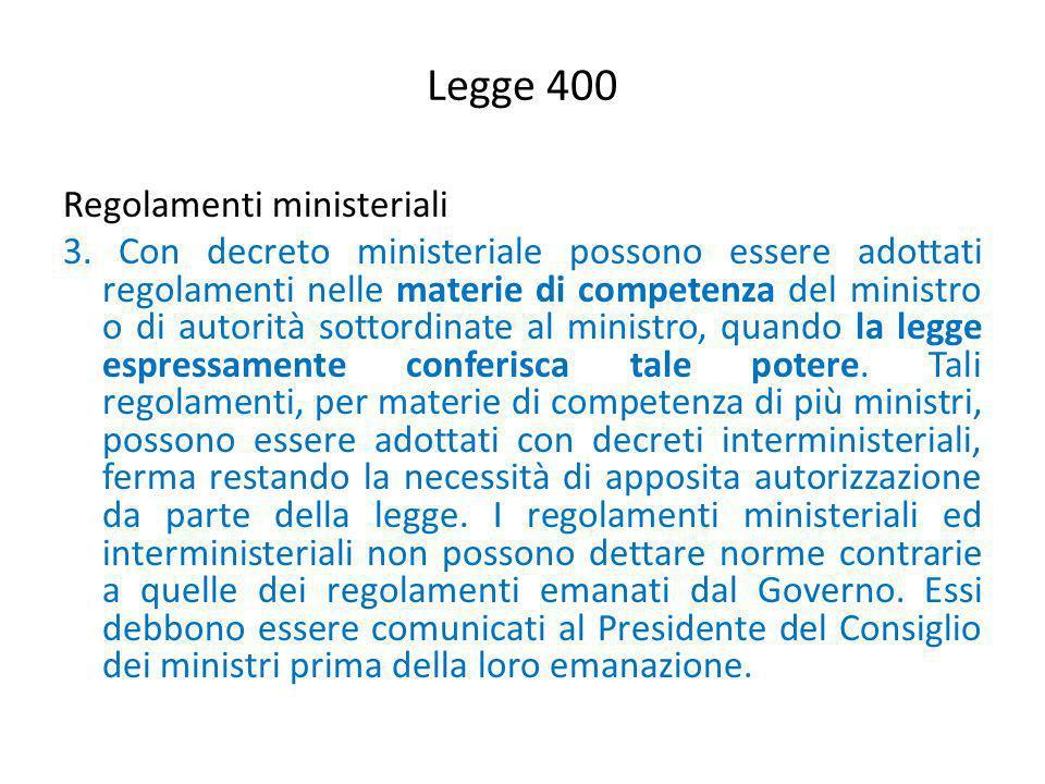 Legge 400 Regolamenti ministeriali 3. Con decreto ministeriale possono essere adottati regolamenti nelle materie di competenza del ministro o di autor