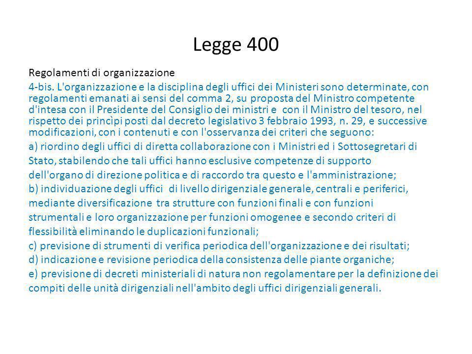 Legge 400 Regolamenti di organizzazione 4-bis. L'organizzazione e la disciplina degli uffici dei Ministeri sono determinate, con regolamenti emanati a
