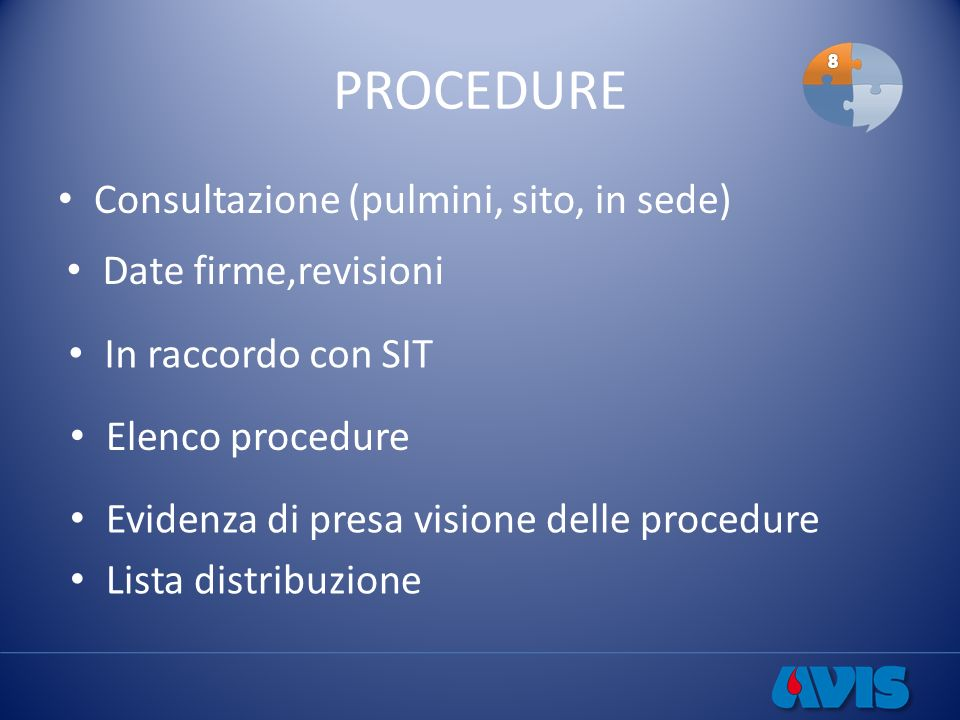 PROCEDURE Consultazione (pulmini, sito, in sede) Date firme,revisioni In raccordo con SIT Elenco procedure Evidenza di presa visione delle procedure L
