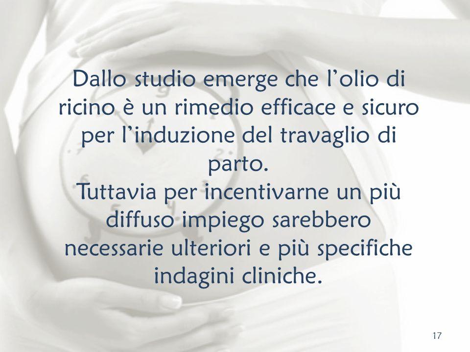 17 Dallo studio emerge che lolio di ricino è un rimedio efficace e sicuro per linduzione del travaglio di parto. Tuttavia per incentivarne un più diff