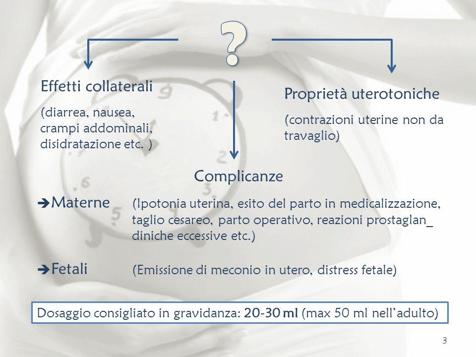 Proprietà uterotoniche (contrazioni uterine non da travaglio) Effetti collaterali (diarrea, nausea, crampi addominali, disidratazione etc. ) Complican