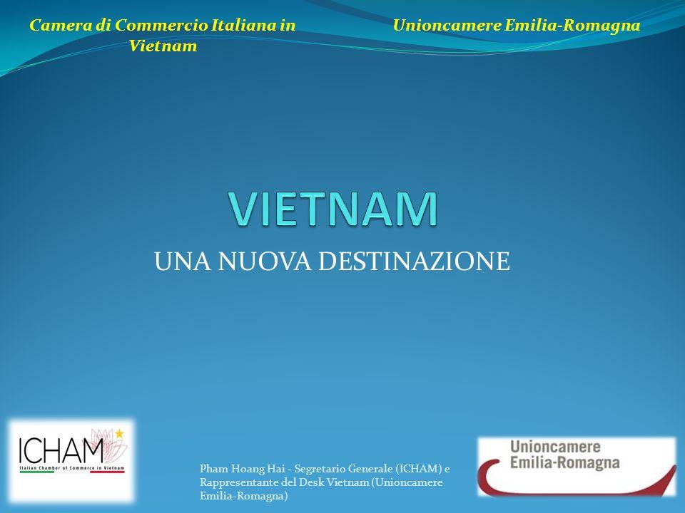 UNA NUOVA DESTINAZIONE Camera di Commercio Italiana in Vietnam Unioncamere Emilia-Romagna Pham Hoang Hai - Segretario Generale (ICHAM) e Rappresentant