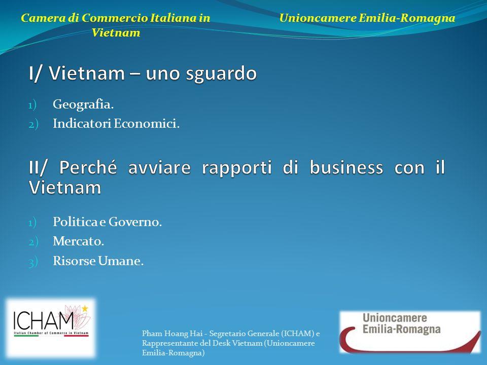 1) Geografia. 2) Indicatori Economici. Camera di Commercio Italiana in Vietnam Unioncamere Emilia-Romagna 1) Politica e Governo. 2) Mercato. 3) Risors