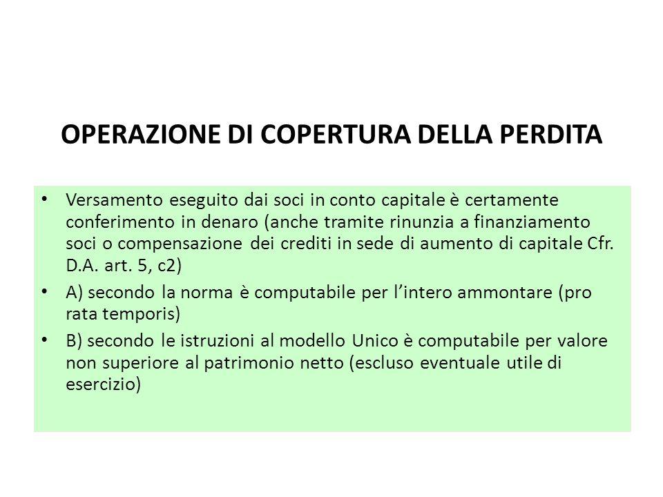 OPERAZIONE DI COPERTURA DELLA PERDITA Versamento eseguito dai soci in conto capitale è certamente conferimento in denaro (anche tramite rinunzia a fin