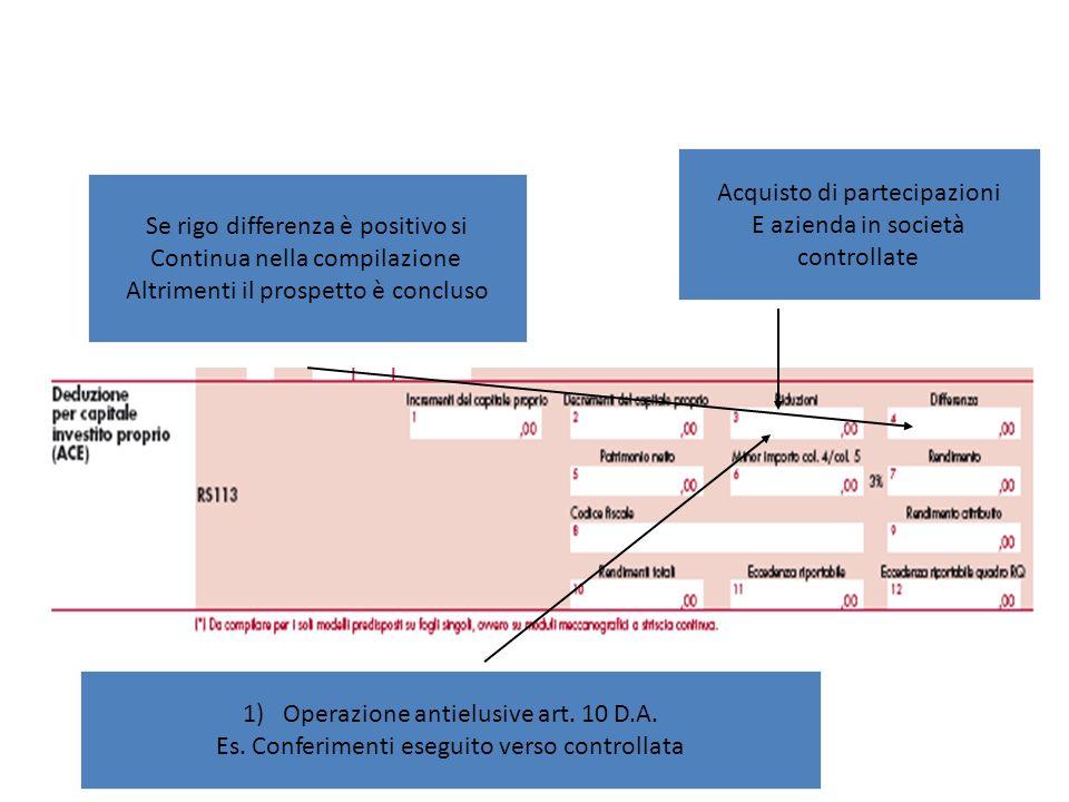 1)Operazione antielusive art. 10 D.A. Es. Conferimenti eseguito verso controllata Acquisto di partecipazioni E azienda in società controllate Se rigo