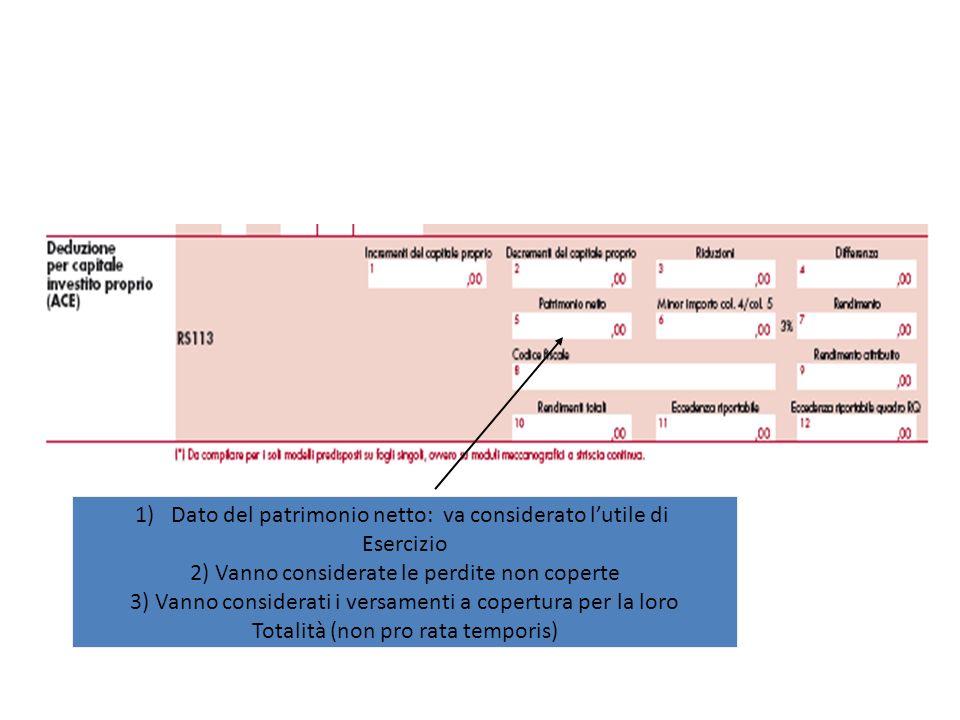 1)Dato del patrimonio netto: va considerato lutile di Esercizio 2) Vanno considerate le perdite non coperte 3) Vanno considerati i versamenti a copert