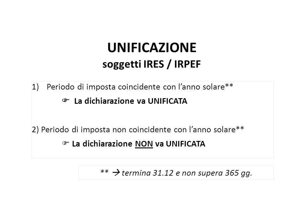 UNIFICAZIONE soggetti IRES / IRPEF 1)Periodo di imposta coincidente con lanno solare** La dichiarazione va UNIFICATA 2) Periodo di imposta non coincid