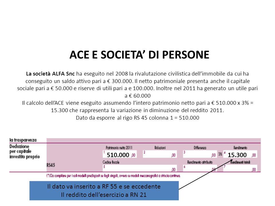 La società ALFA Snc ha eseguito nel 2008 la rivalutazione civilistica dellimmobile da cui ha conseguito un saldo attivo pari a 300.000. Il netto patri
