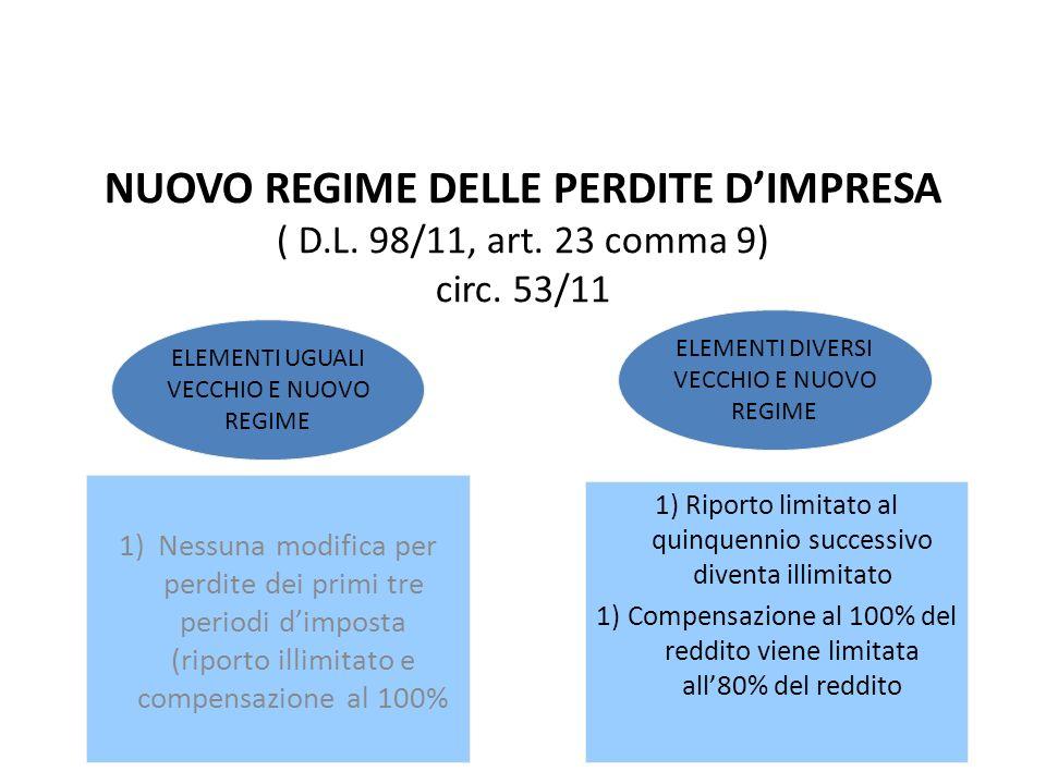 NUOVO REGIME DELLE PERDITE DIMPRESA ( D.L. 98/11, art. 23 comma 9) circ. 53/11 1) Nessuna modifica per perdite dei primi tre periodi dimposta (riporto