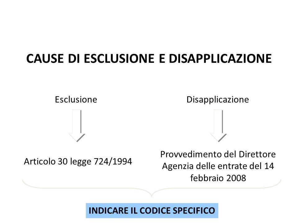 EsclusioneDisapplicazione Articolo 30 legge 724/1994 Provvedimento del Direttore Agenzia delle entrate del 14 febbraio 2008 INDICARE IL CODICE SPECIFI
