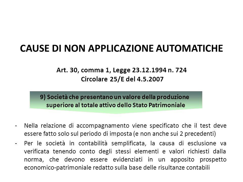 CAUSE DI NON APPLICAZIONE AUTOMATICHE -Nella relazione di accompagnamento viene specificato che il test deve essere fatto solo sul periodo di imposta