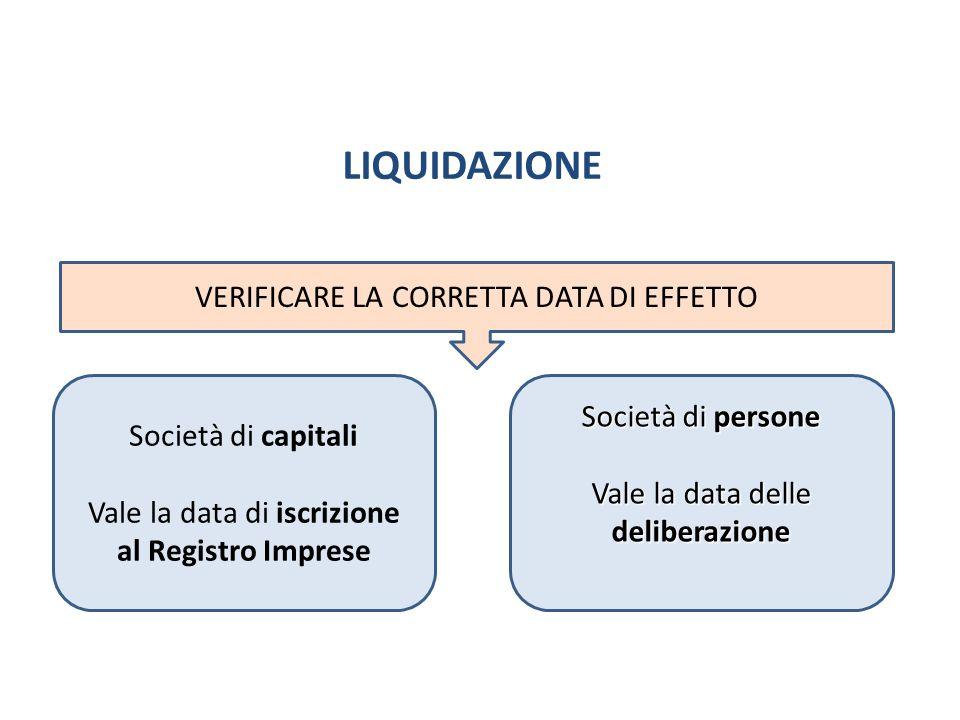LIQUIDAZIONE VERIFICARE LA CORRETTA DATA DI EFFETTO Società di capitali Vale la data di iscrizione al Registro Imprese Società di persone Vale la data
