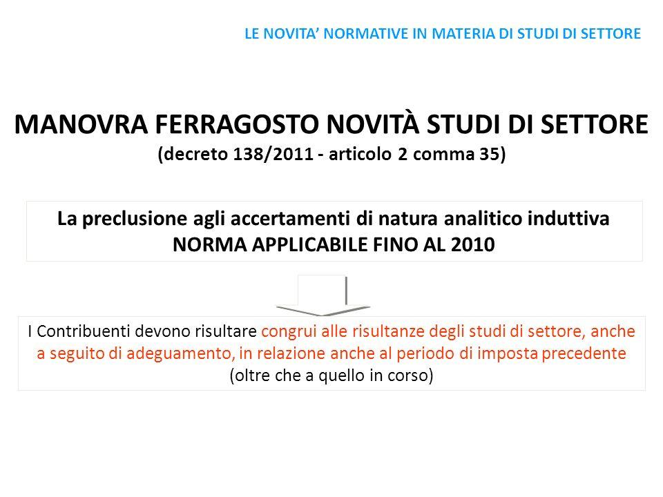 MANOVRA FERRAGOSTO NOVITÀ STUDI DI SETTORE (decreto 138/2011 - articolo 2 comma 35) La preclusione agli accertamenti di natura analitico induttiva NOR