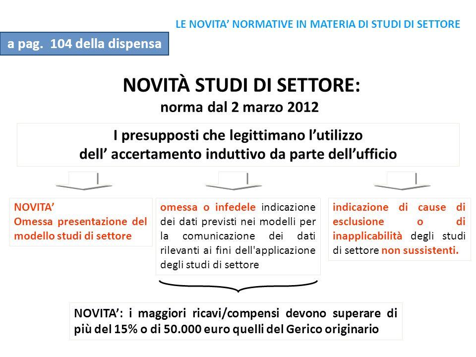 NOVITÀ STUDI DI SETTORE: norma dal 2 marzo 2012 I presupposti che legittimano lutilizzo dell accertamento induttivo da parte dellufficio omessa o infe