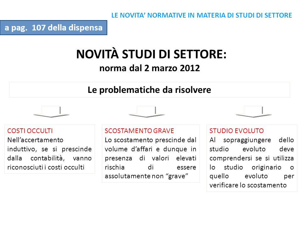 NOVITÀ STUDI DI SETTORE: norma dal 2 marzo 2012 Le problematiche da risolvere STUDIO EVOLUTO Al sopraggiungere dello studio evoluto deve comprendersi