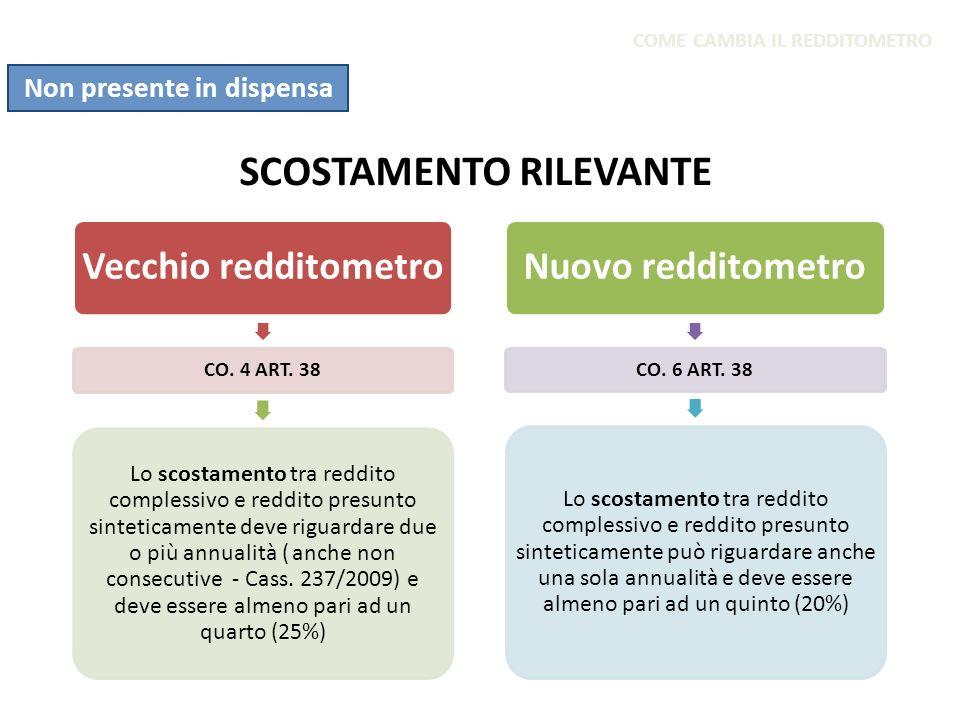 SCOSTAMENTO RILEVANTE Vecchio redditometro CO. 4 ART. 38 Lo scostamento tra reddito complessivo e reddito presunto sinteticamente deve riguardare due