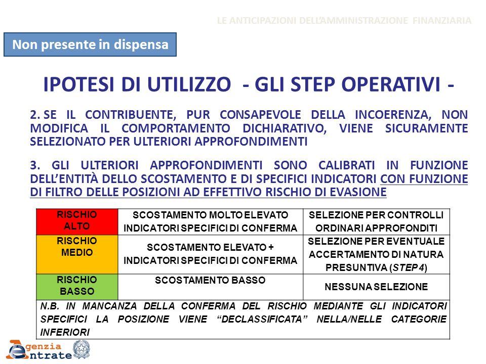 IPOTESI DI UTILIZZO - GLI STEP OPERATIVI - 2. SE IL CONTRIBUENTE, PUR CONSAPEVOLE DELLA INCOERENZA, NON MODIFICA IL COMPORTAMENTO DICHIARATIVO, VIENE