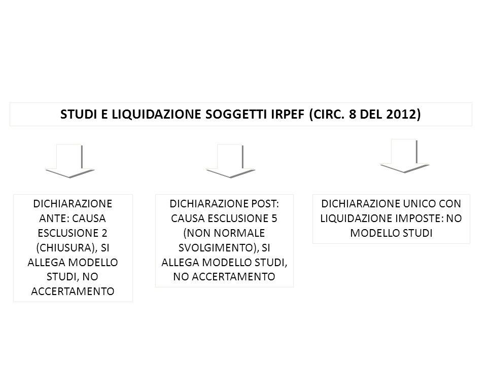 STUDI E LIQUIDAZIONE SOGGETTI IRPEF (CIRC. 8 DEL 2012) DICHIARAZIONE ANTE: CAUSA ESCLUSIONE 2 (CHIUSURA), SI ALLEGA MODELLO STUDI, NO ACCERTAMENTO DIC