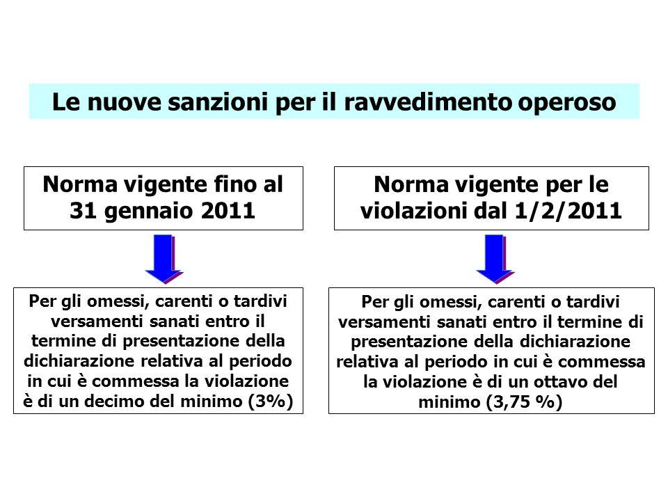 Le nuove sanzioni per il ravvedimento operoso Norma vigente fino al 31 gennaio 2011 Norma vigente per le violazioni dal 1/2/2011 Per gli omessi, caren