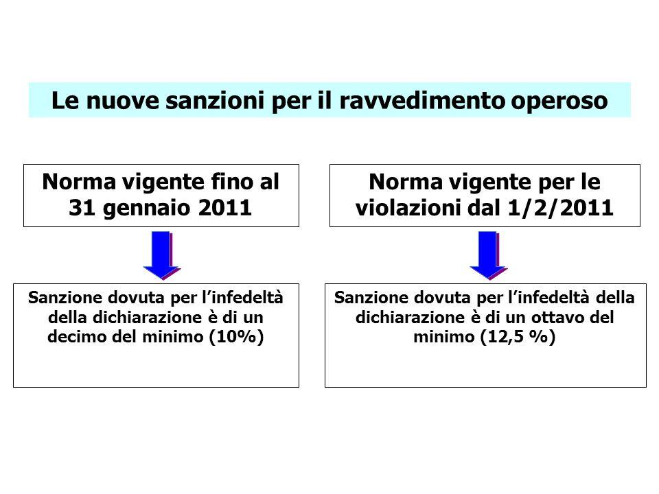 Le nuove sanzioni per il ravvedimento operoso Norma vigente fino al 31 gennaio 2011 Norma vigente per le violazioni dal 1/2/2011 Sanzione dovuta per l