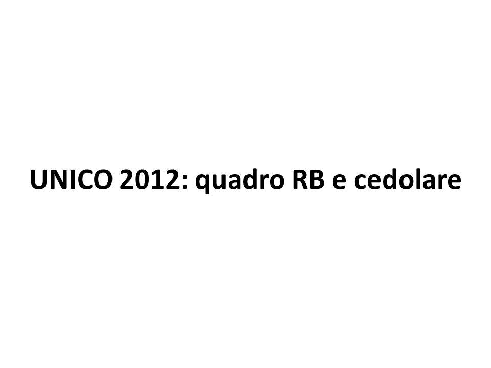 UNICO 2012: quadro RB e cedolare