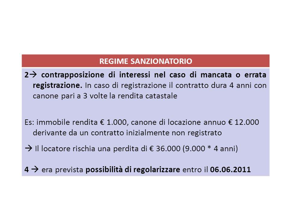 REGIME SANZIONATORIO 2 contrapposizione di interessi nel caso di mancata o errata registrazione. In caso di registrazione il contratto dura 4 anni con