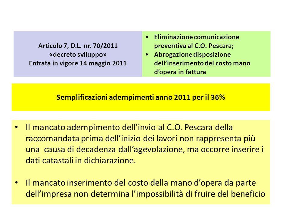 Semplificazioni adempimenti anno 2011 per il 36% Articolo 7, D.L. nr. 70/2011 «decreto sviluppo» Entrata in vigore 14 maggio 2011 Eliminazione comunic