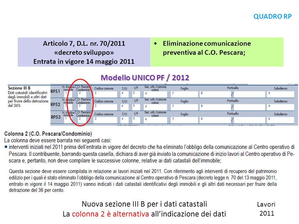 Articolo 7, D.L. nr. 70/2011 «decreto sviluppo» Entrata in vigore 14 maggio 2011 Eliminazione comunicazione preventiva al C.O. Pescara; Modello UNICO