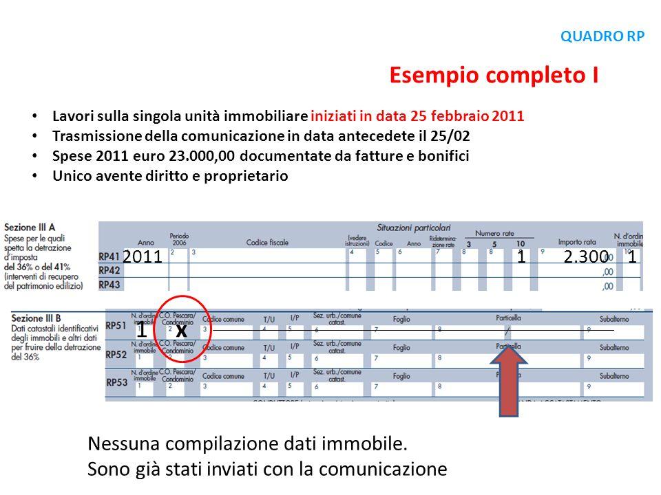 Lavori sulla singola unità immobiliare iniziati in data 25 febbraio 2011 Trasmissione della comunicazione in data antecedete il 25/02 Spese 2011 euro