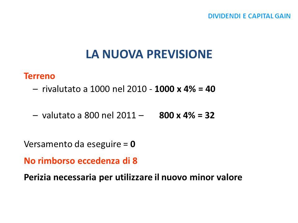 LA NUOVA PREVISIONE Terreno –rivalutato a 1000 nel 2010 - 1000 x 4% = 40 –valutato a 800 nel 2011 – 800 x 4% = 32 Versamento da eseguire = 0 No rimbor