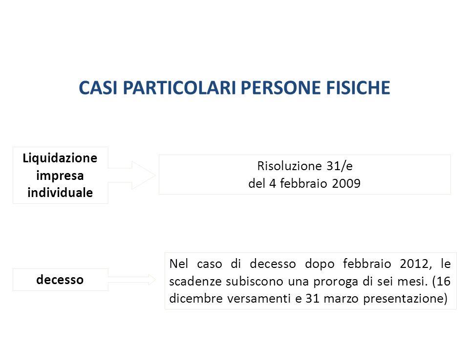 CASI PARTICOLARI PERSONE FISICHE Liquidazione impresa individuale decesso Risoluzione 31/e del 4 febbraio 2009 Nel caso di decesso dopo febbraio 2012,
