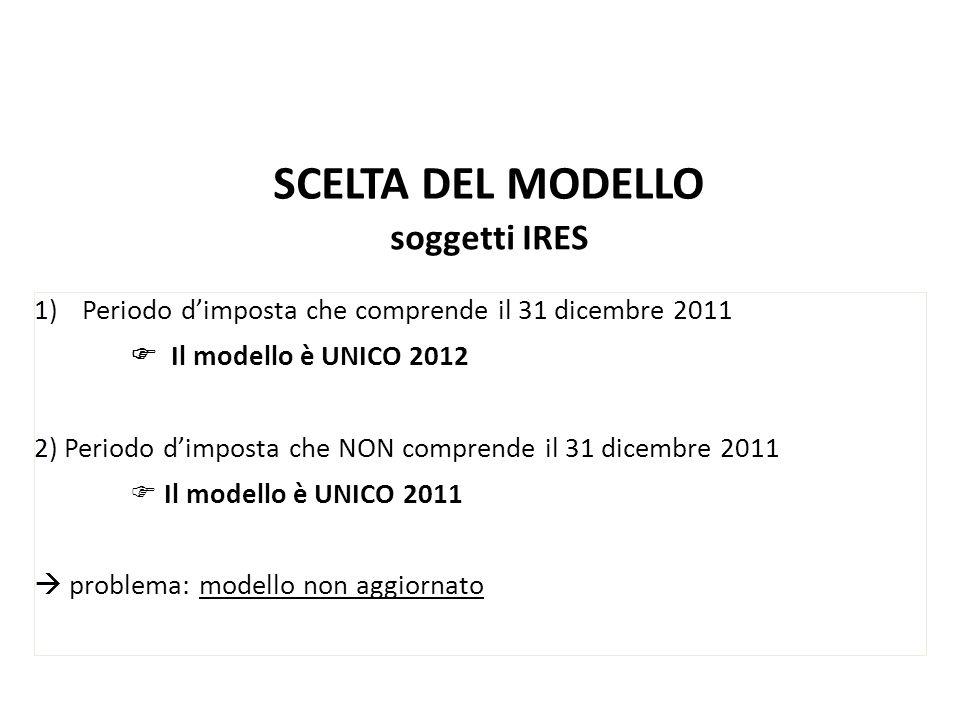SCELTA DEL MODELLO soggetti IRES 1)Periodo dimposta che comprende il 31 dicembre 2011 Il modello è UNICO 2012 2) Periodo dimposta che NON comprende il
