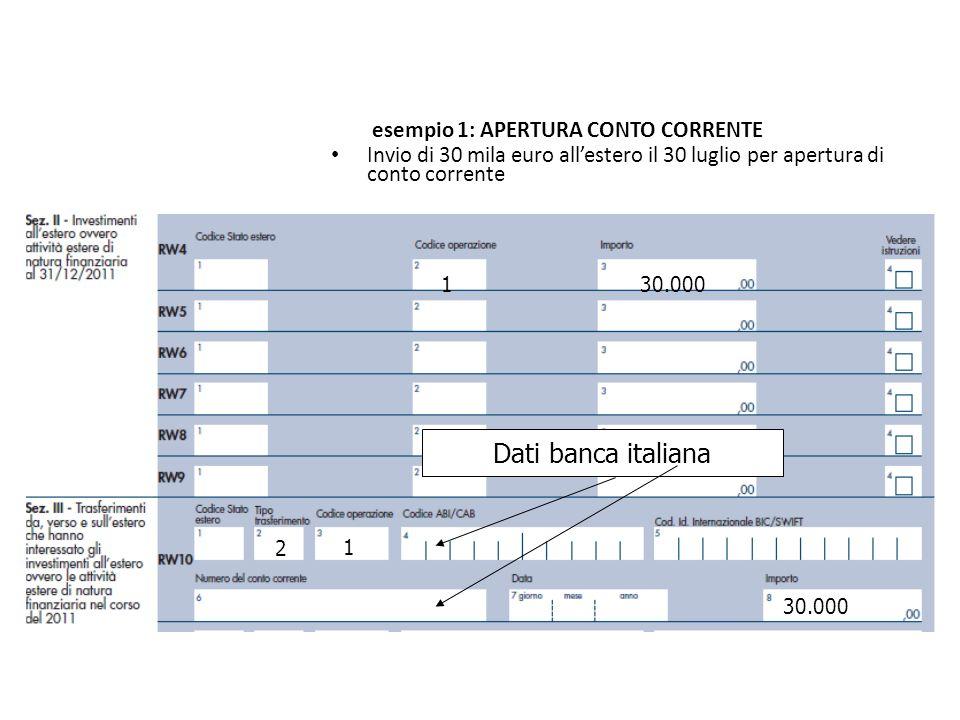130.000 Dati banca italiana 2 1 30.000 esempio 1: APERTURA CONTO CORRENTE Invio di 30 mila euro allestero il 30 luglio per apertura di conto corrente