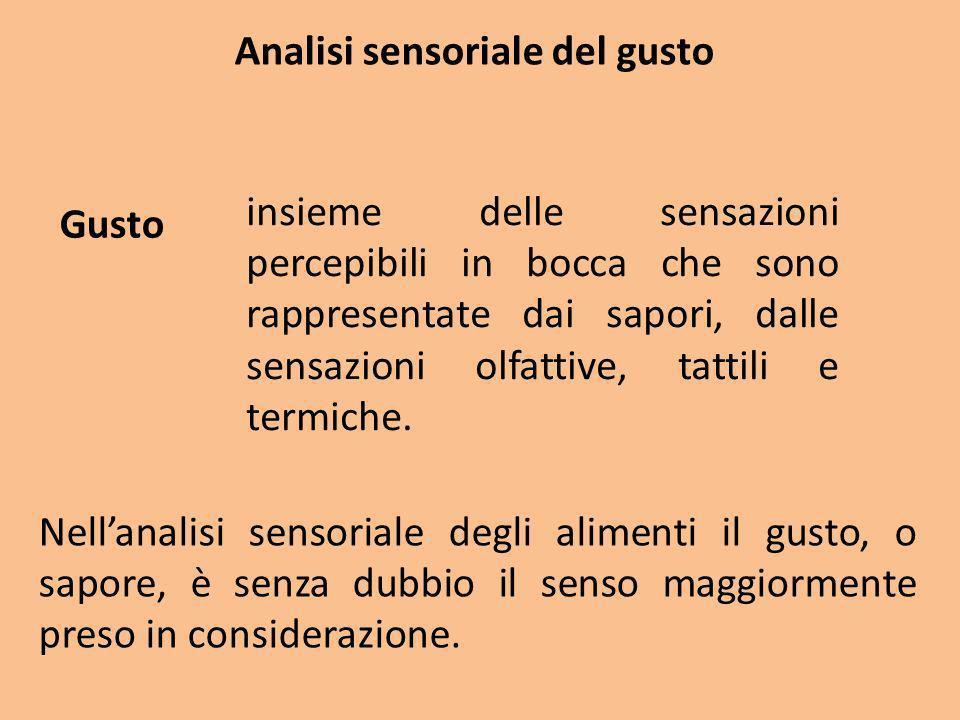 Analisi sensoriale del gusto Le sensazioni gustative vengono tradizionalmente descritte mediante i quattro sapori fondamentali: e le loro infinite combinazioni.