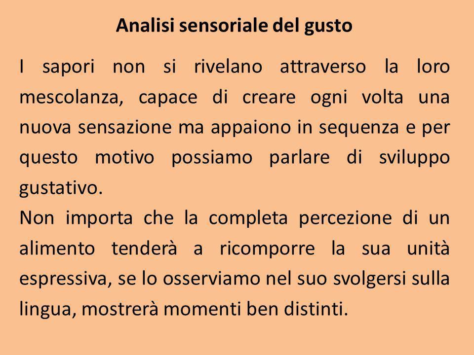 Analisi sensoriale del gusto I sapori non si rivelano attraverso la loro mescolanza, capace di creare ogni volta una nuova sensazione ma appaiono in s