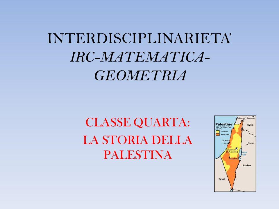 INTERDISCIPLINARIETA IRC-MATEMATICA- GEOMETRIA CLASSE QUARTA: LA STORIA DELLA PALESTINA