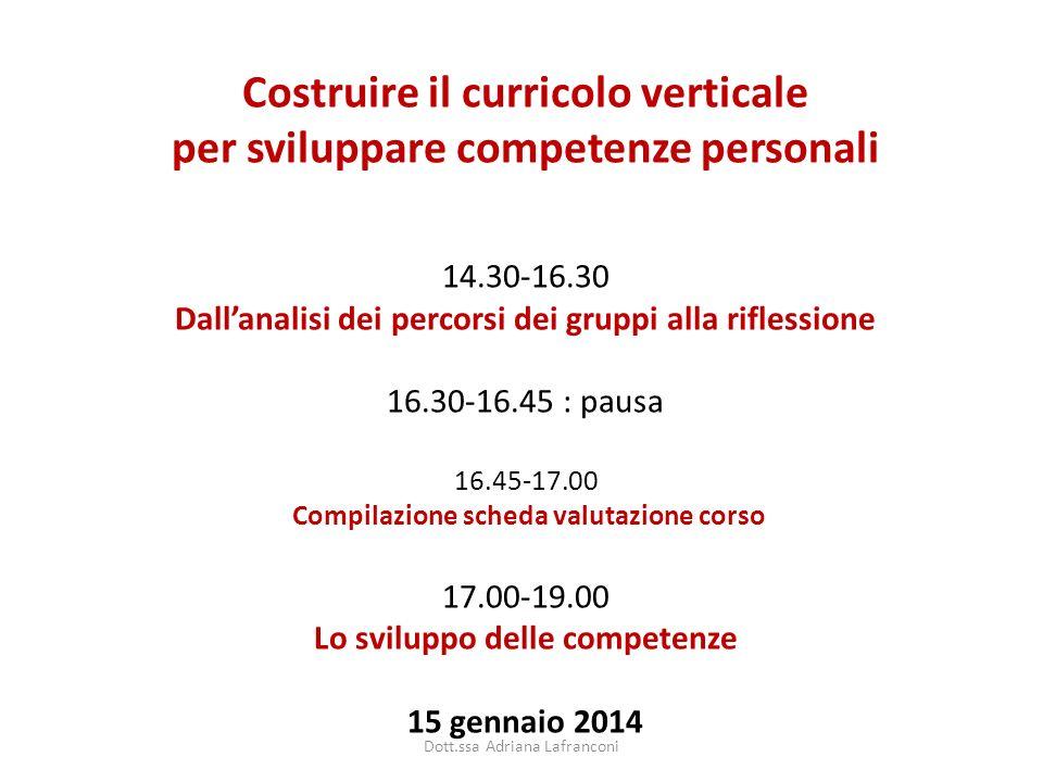Costruire il curricolo verticale per sviluppare competenze personali 14.30-16.30 Dallanalisi dei percorsi dei gruppi alla riflessione 16.30-16.45 : pa